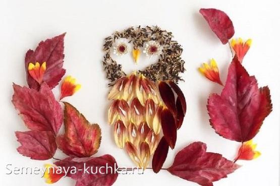 сова поделки из листьев