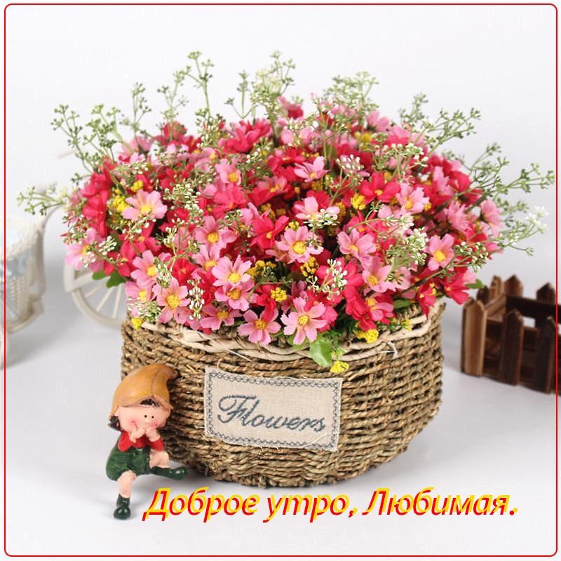 нежные цветы в корзине