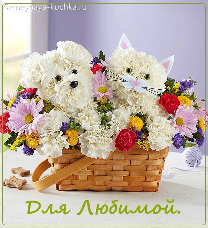 собачка из цветов в корзине