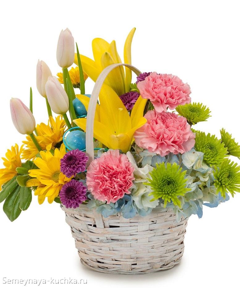 цветы весенние в белой корзине нежные