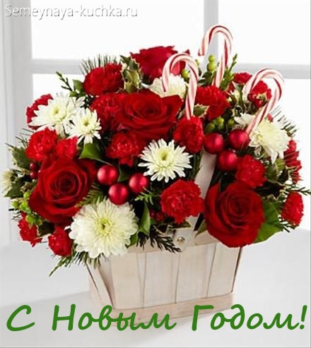 красивый букет с розами в корзине