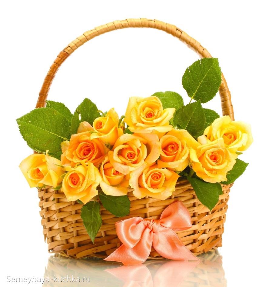красивые цветы желтые розы в корзине