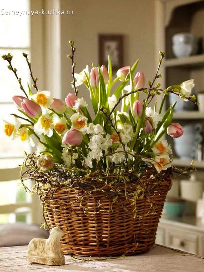 цветы в корзине нежные весна