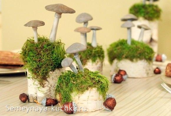 детская поделка грибы из природных материалов