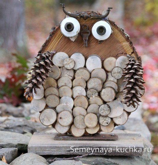 поделка сова из природного материала дерева