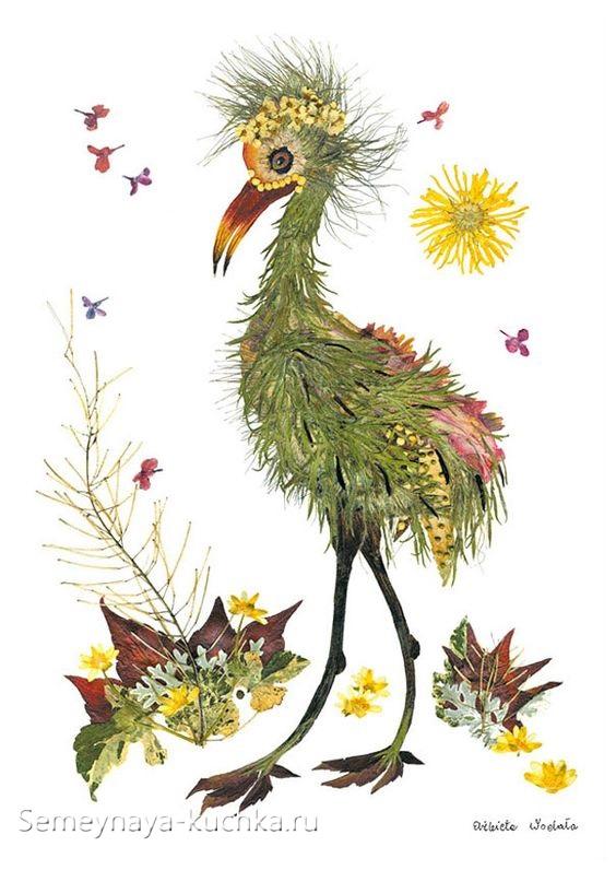 поделка птица страус из природных материалов