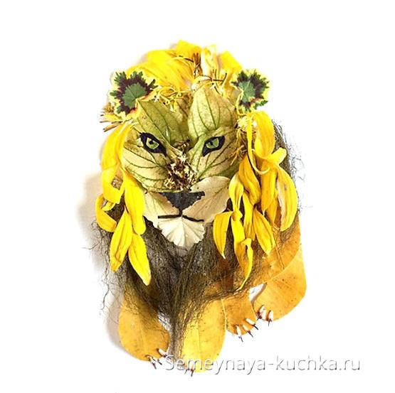аппликация лев из природных материалов
