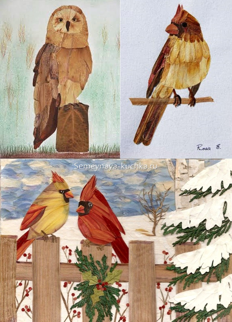 аппликация птицы из природных материалов