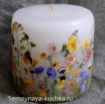поделка свеча с природным материалом