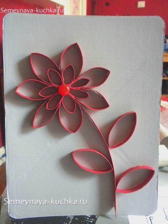 поделка цветок для мамы из рулончиков