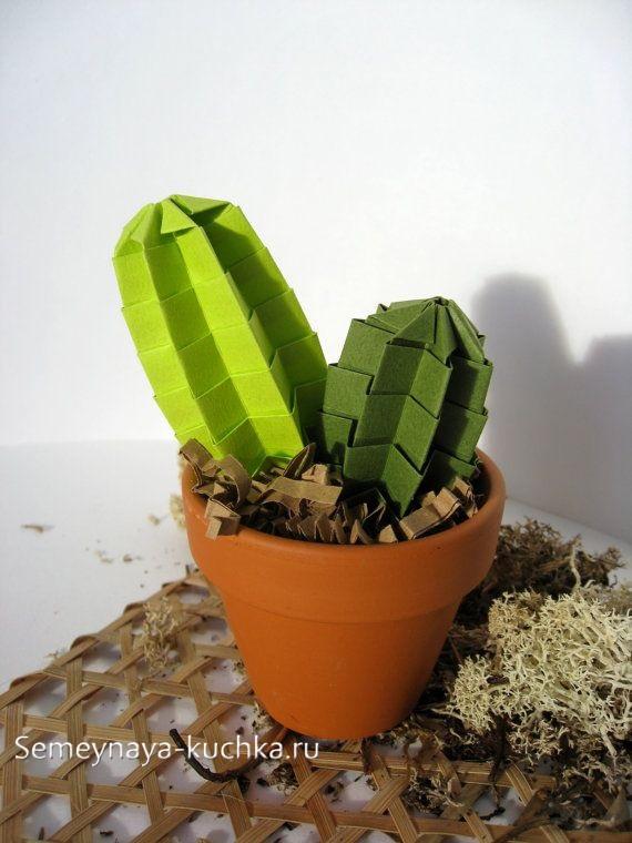 поделка цветы кактус из бумаги