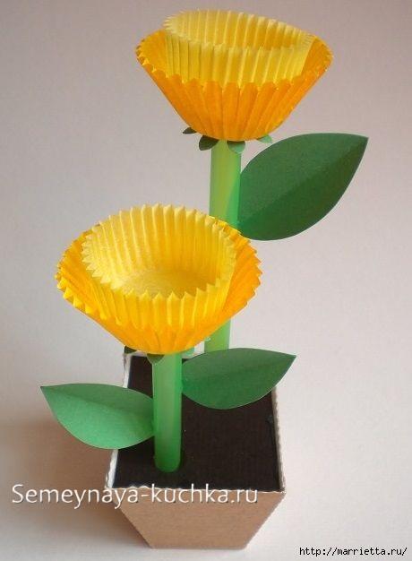 поделка цветы для мамы из розеток бумажных