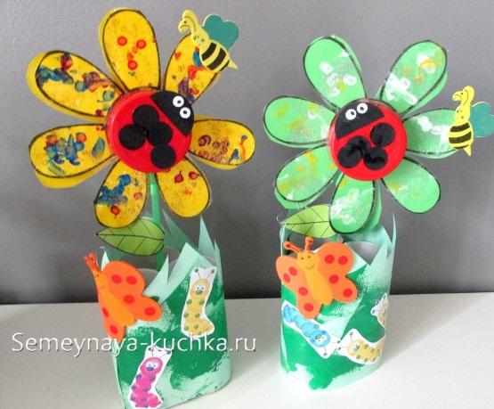 детская поделка цветы для мамы