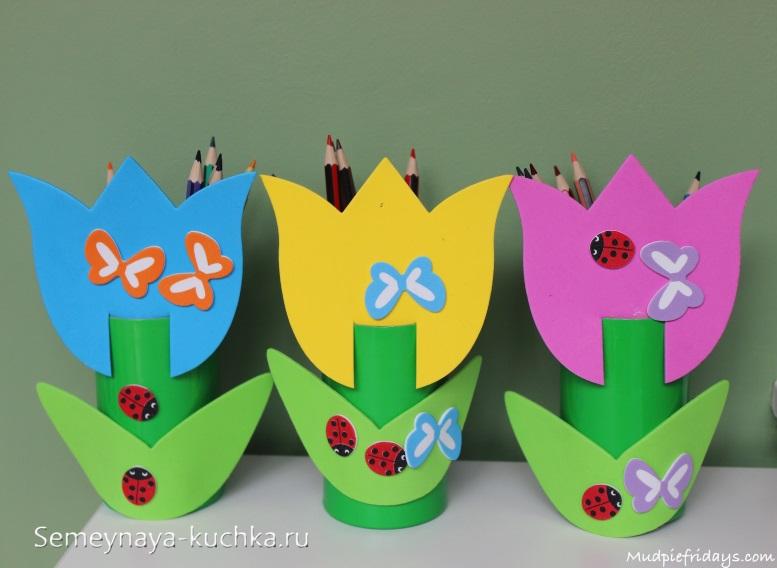 поделка детская цветы для мамы