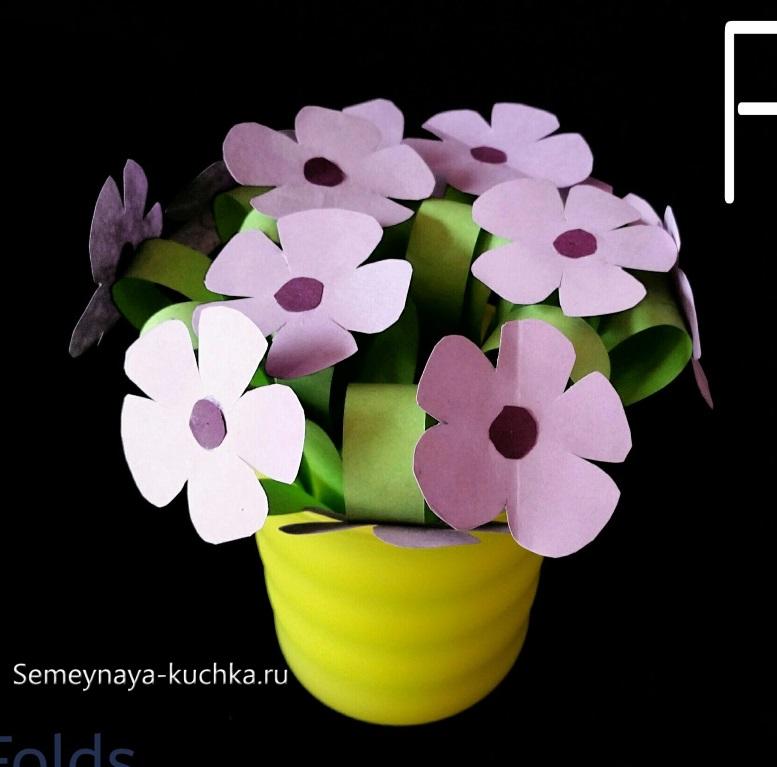 поделка горшок с цветами для мамы детская