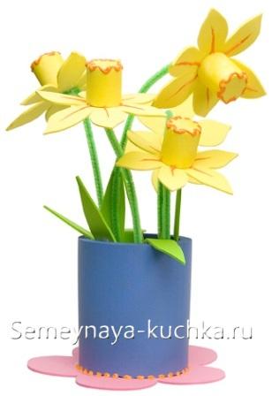 поделка цветы для мамы из бумаги