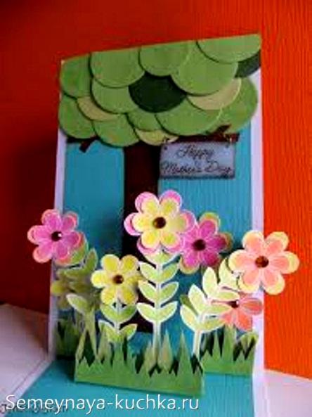 поделка открытка цветы для мамы