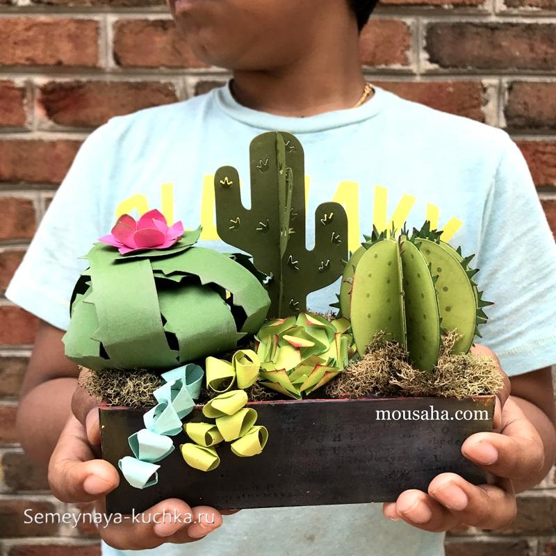 поделка кактусы из бумаги цветы