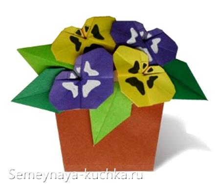 поделка цветы для мамы анютины глазки