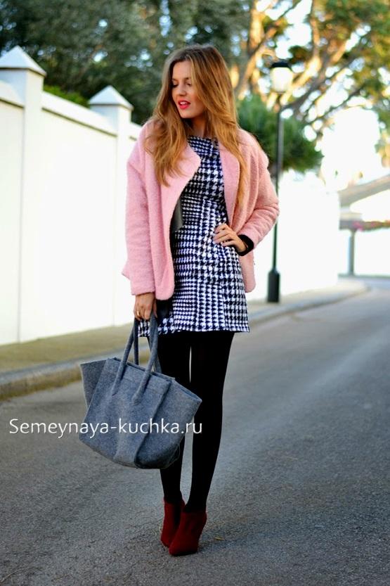красивое короткое пальто с платьем