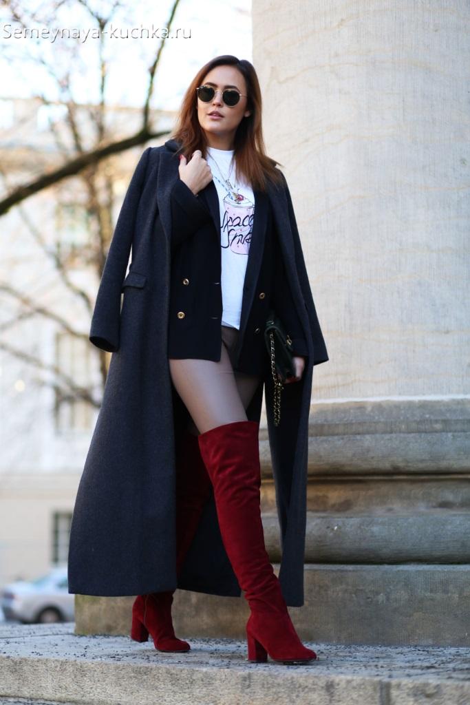 длинное черное пальто образ