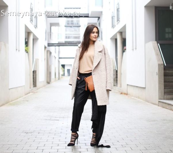 осенний образ пальто с брюками
