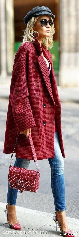 пальто оверсайз красное
