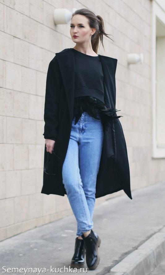 черное пальто под джинсы