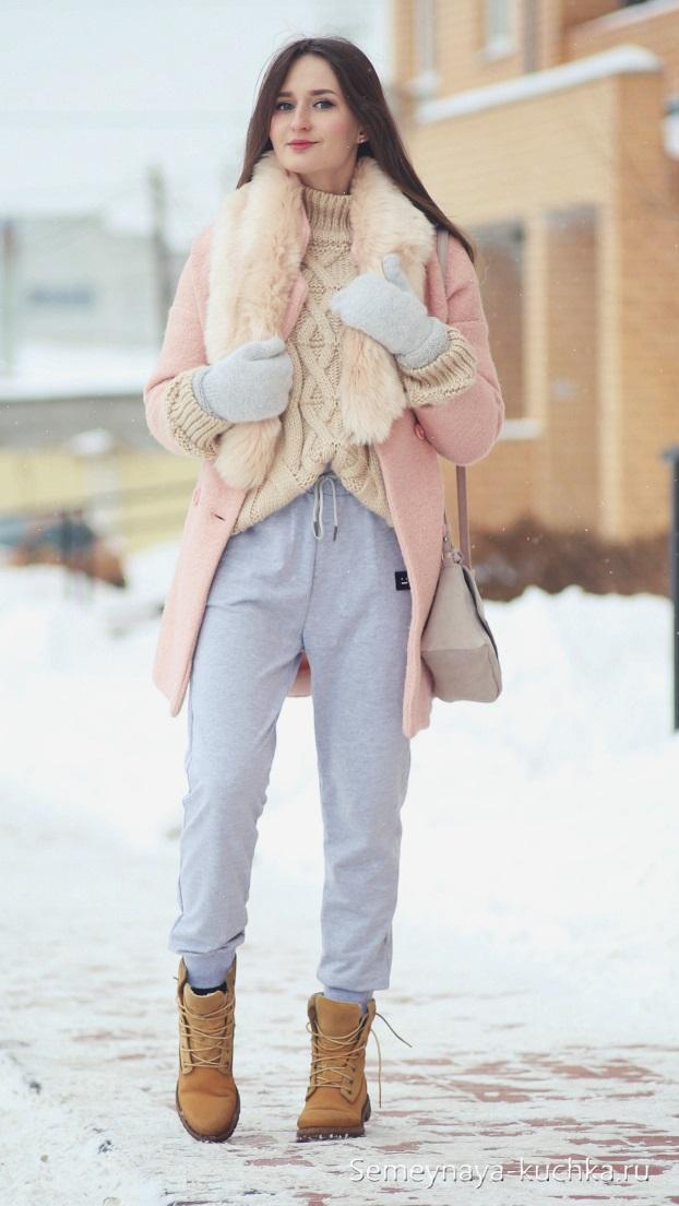 розовое пальто с брюками