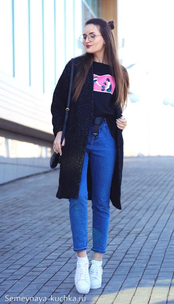 джинсы с пальто как носить