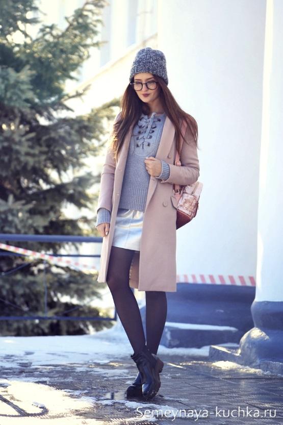пальто с юбкой розовое