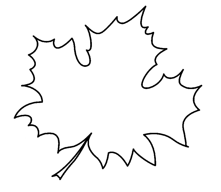 контурный шаблон кленового листа
