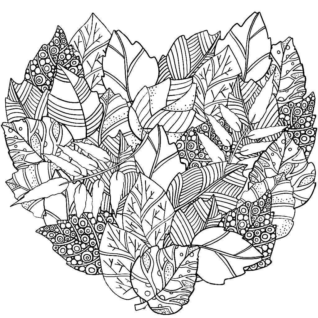 шаблон листьев в виде сердца