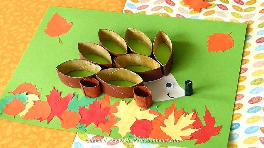 поделка ежик на основе шаблоны листьев