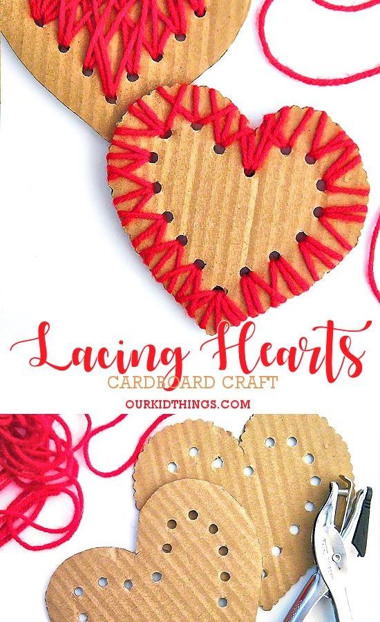 поделка для мамы из ниток картонное сердце