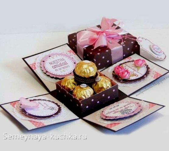 поделка для мамы коробочка с конфетами