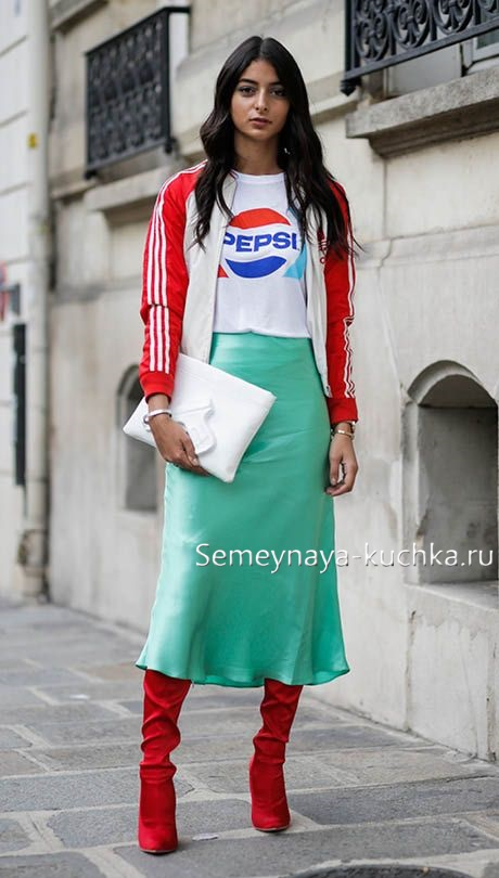 юбка миди носим осенью спорт шик