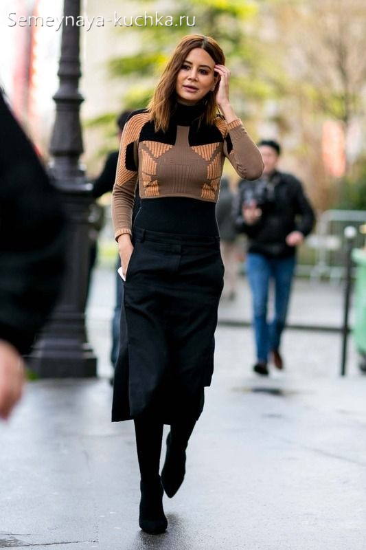 черная юбка миди как носить осенью зимой