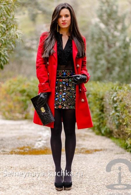 яркая короткая юбка как носить осенью