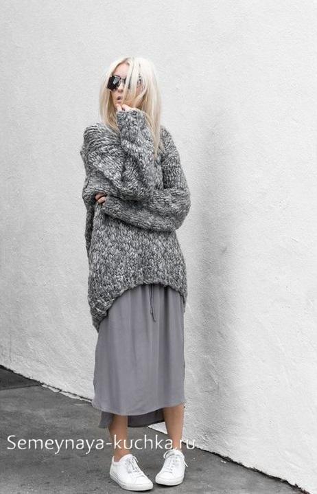 юбка плиссированная под свитер на осень зиму