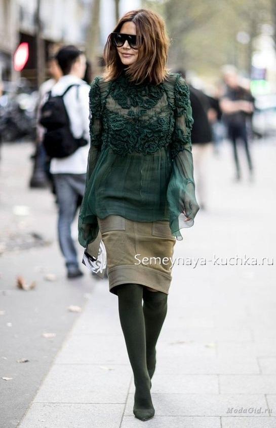 замшевая юбка с плотными колготами