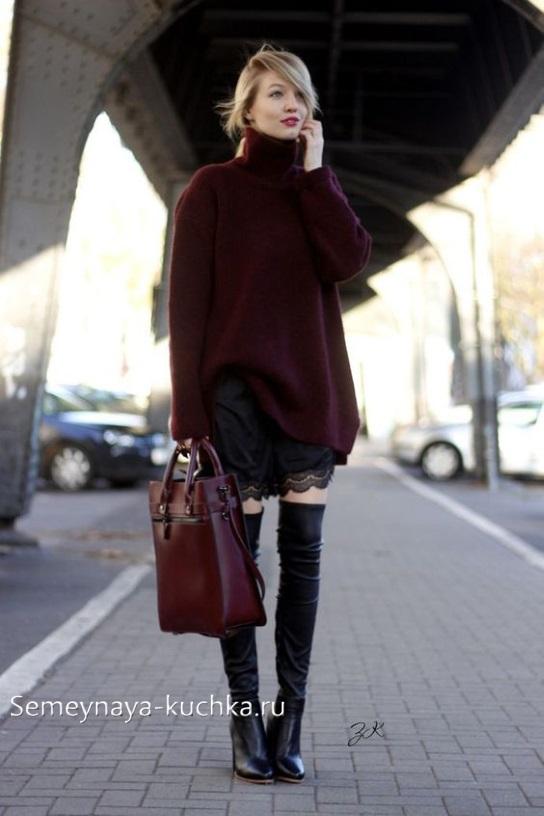 короткая черна юбка как носить осенью