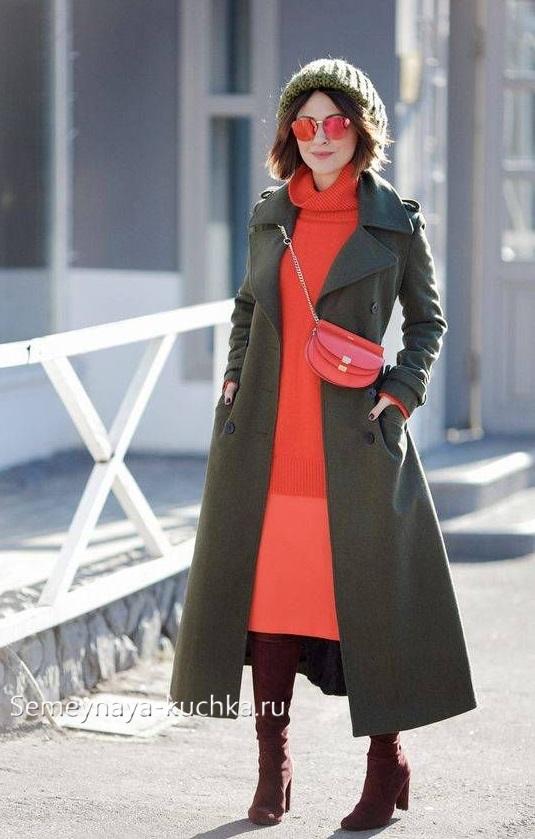 как носить теплую юбку осенью зимой яркий цвет