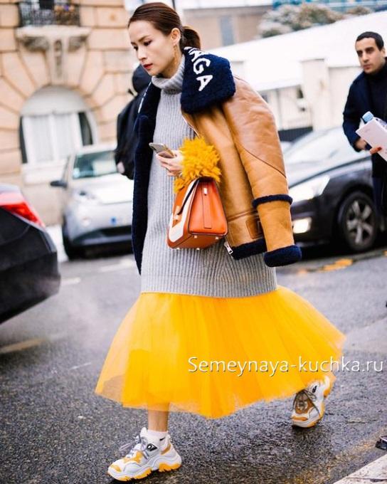 юбка осень зима с кедами