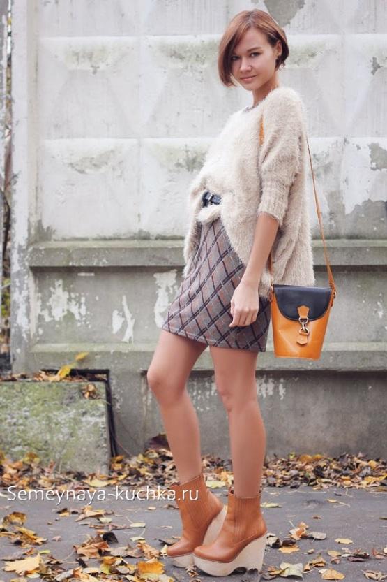 теплая юбка осень зима короткая