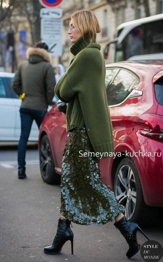 юбка осень под свитер