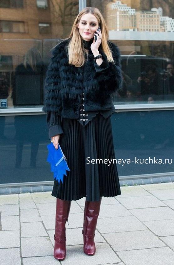 юбка плиссированная как носить осенью зимой