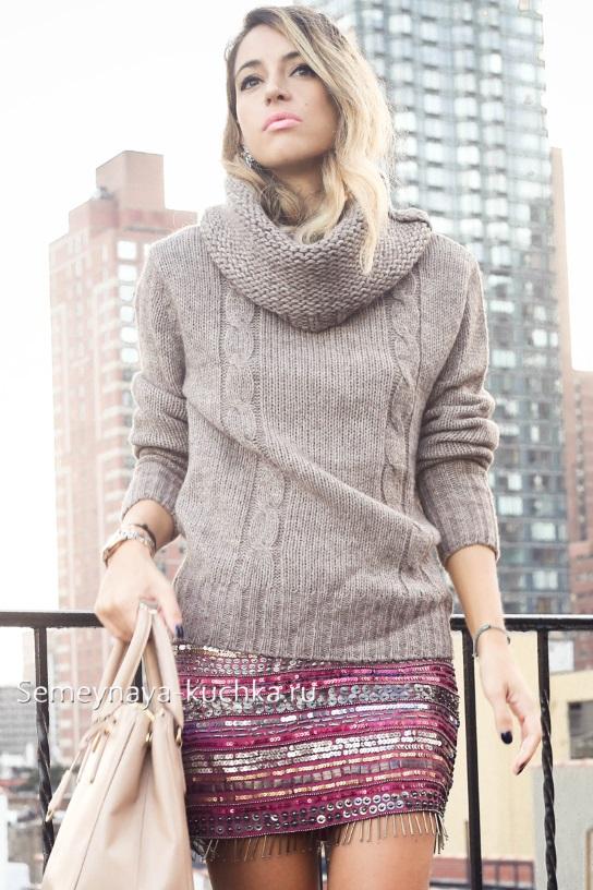 короткая юбка осень зима под свитер