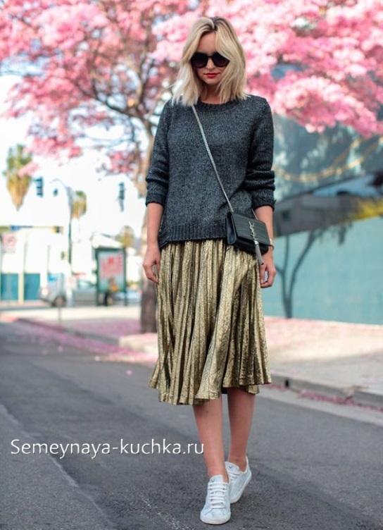юбка плиссированная осенью зимой