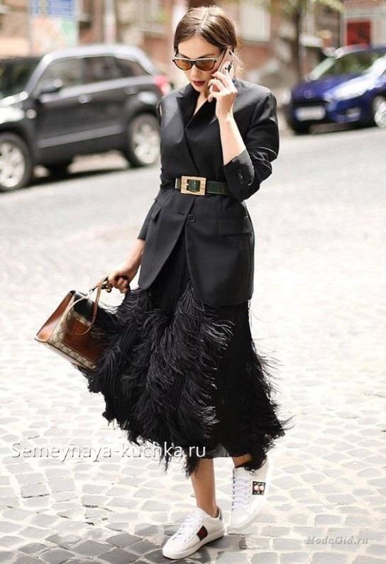юбка черная с пиджаком как носить осень зима